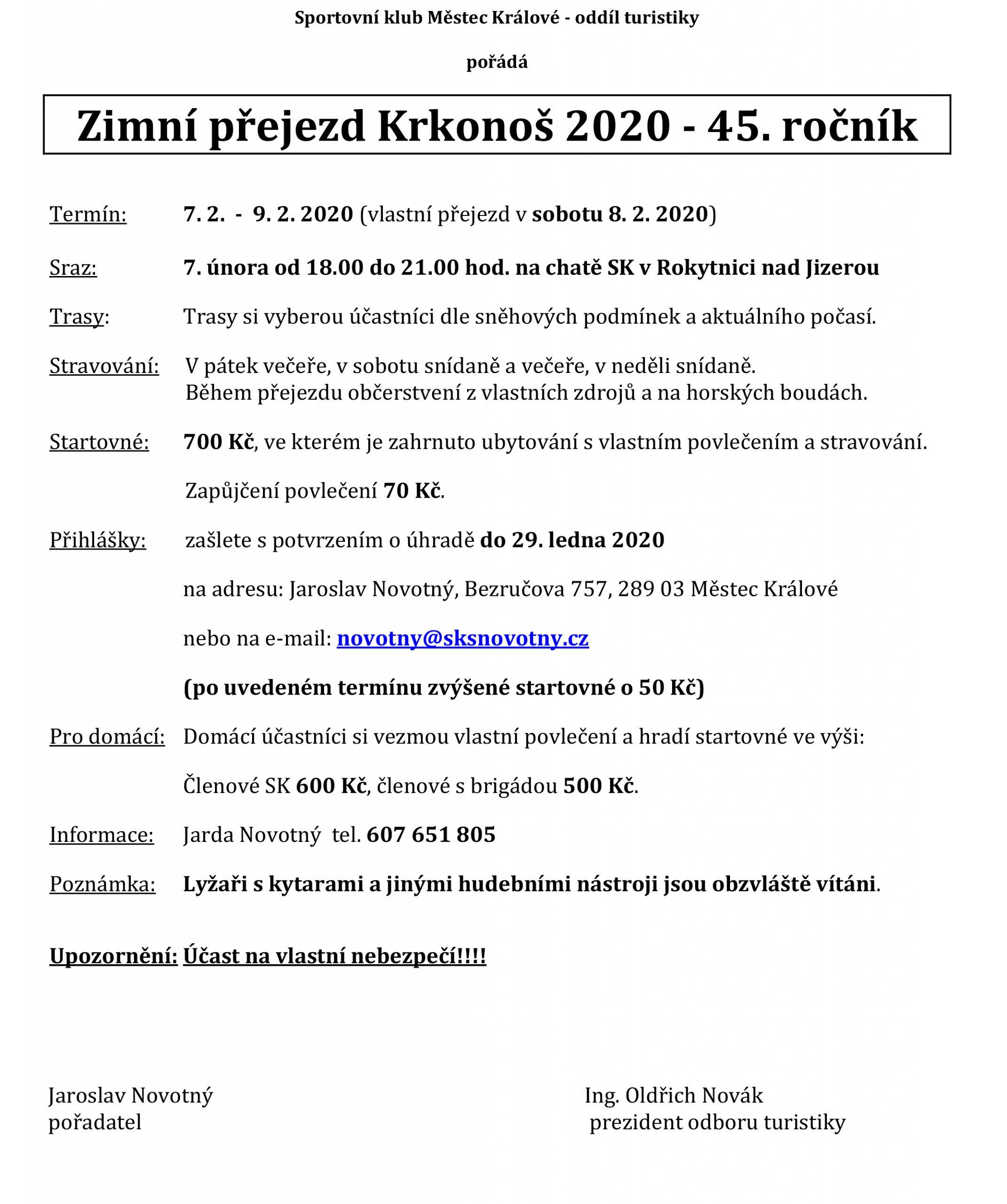 Zimní přejezd Krkonoš – 2020